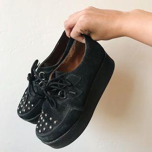 Topshop Black Suede Creepers